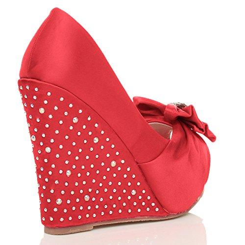 Femmes mariage noeud élégant talon haut compensé bout ouvert chaussures pointure Rouge