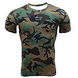 Camiseta Hombres, ❤️ Manadlian 2018 Camisa de hombre camuflaje Aptitud Deportes Gimnasio Camisa atlética Parte superior Blusa (CN:L, Ejercito verde)