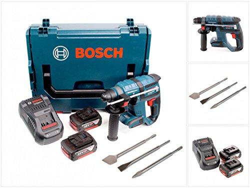 Bosch GBH 18 V-EC brushless Bohrhammer Professional SDS-Plus in L-Boxx mit 3er-Set Meißel, Ladegerät GAL 1880 CV, 2 x Bosch 6 AH 18 V LI Akkus