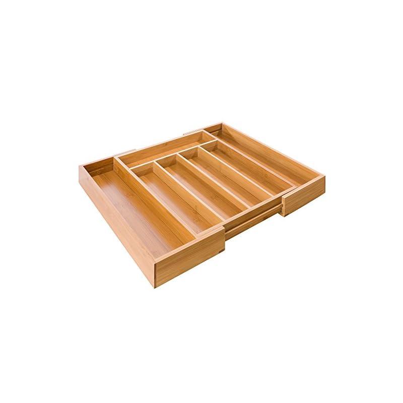 Arebos Besteckkasten Ausziehbar 5 7 Fcher 31 48 X 37 X 55 Cm Aus Umweltfreundlichen Bambus