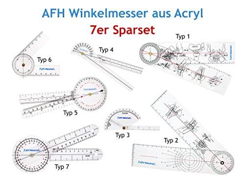 Winkelmesser Goniometer (Winkelmesser | Gelenkmesser | Goniometer aus ACRYL, 7ER SET mit verschiedenen Längen)