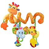 Early Education Crib Giraffe Activity Spiral with Vibrative Ball and Teether Pram Hanging Toy Stroller Plush Comfort Toy Travel Soft Toy for Baby Boys and Girls