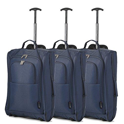 Juego de 3 21'/55cm 5 Cities Cabina Aprobada de equipaje de mano de peso ligero Trolley Bolsas Para Ryanair / Easyjet (Negro)