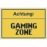 Fun-Schild 'Achtung! - Gaming Zone' aus PVC Hartschaum Platte 300x200 mm - 3 mm stark - Lustig - Türschild - Regenbogen