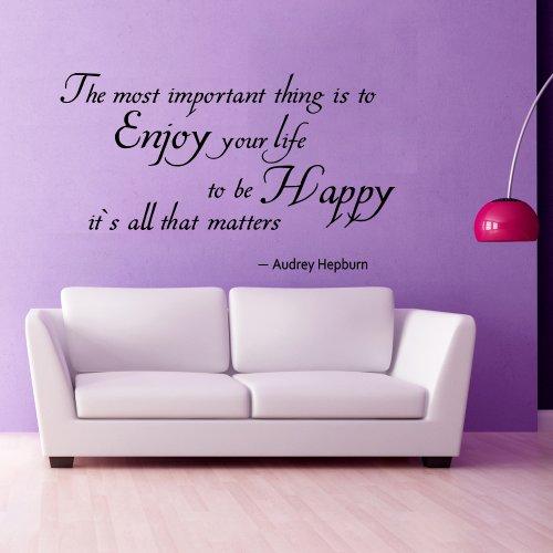 """WallsUp Wandaufkleber/Wandtattoo inspirierendes Audrey Hepburn Zitat, englischer Text\""""Enjoy Your Life\"""" (auf Deutsch: Genieße dein Leben), Vinyl - 35 x58 - Custom"""
