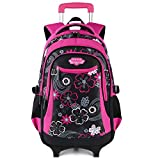 Cartable Fille, Fanspack Sac a Roulette Fille Cartable Fille a Roulette en Nylon Sac a Dos Fille Roulette Sac Ecole Fille Sac...