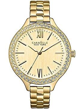 Carvelle New York gold Damen Quarzuhr mit Champagner Zifferblatt Analog-Anzeige und Gold Edelstahl Armband 44l154
