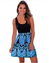 Costuras sin mangas, cuello u paquete de impresión a color, una cadera vestido paraguas,L,azul
