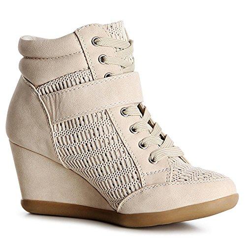 topschuhe24 , Baskets pour femme Beige