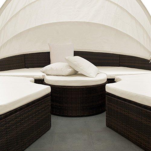 PolyRattan Sonneninsel Ø 185cm Sonnenliege Gartenliege Gartenmöbel Lounge Rattan - 2