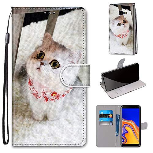 Miagon Flip PU Leder Schutzhülle für Samsung Galaxy J4 Plus,Bunt Muster Hülle Brieftasche Case Cover Ständer mit Kartenfächer Trageschlaufe,Schal Katze