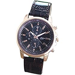 Silvercell Unisex Faux Leather Band Analog Quartz Wrist Watch Dark Brown
