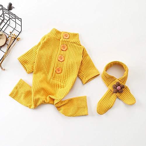 HUAIX petsuppliesmisc Herbst und Winter Neue Haustierkleidung Casual Baumwolle Einteilige vierbeinige Kleidung Gestrickte Road Dog Kleidung (Color : Yellow, Size : XL) -