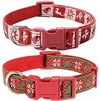 EXPAWLORER 2 Unidades de Collares únicos de Navidad para Perro – Ajustable Resistente Nailon Collares para Perros pequeños a Grandes, Color Rojo