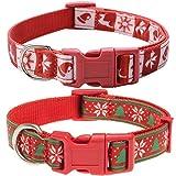 EXPAWLORER 2 Stück Einzigartige Weihnachtshundhalsbänder – Verstellbare Stabile Nylon-Halsbänder für Kleine bis große Hunde, Rot