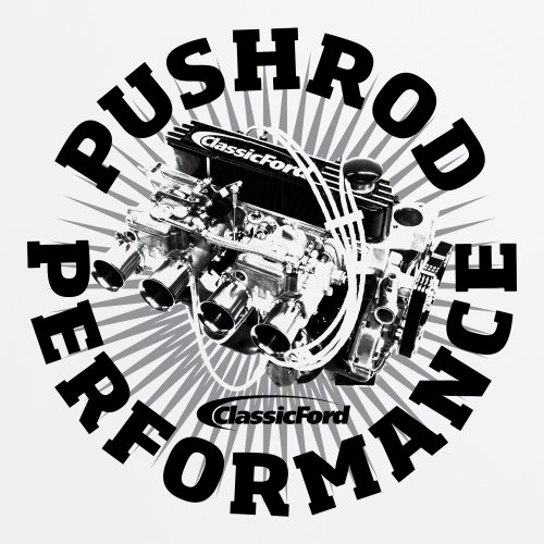 Classic Ford Pushrod Performance T-Shirt, Herren Wei