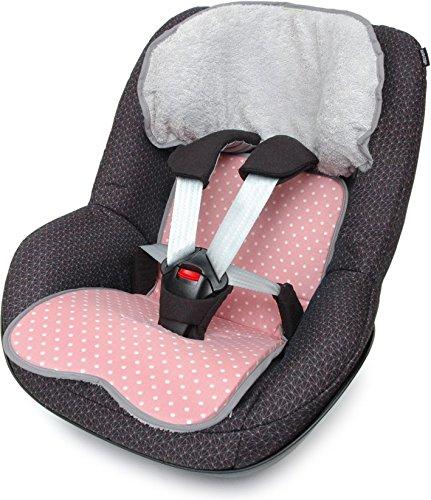 Preisvergleich Produktbild PRIEBES FELIX Sitzauflage für Autokindersitz Gruppe 1 | Universal Sitzeinlage für Kindersitze | Schonbezug 100 % Baumwolle | waschbar & atmungsaktiv | einfache Befestigung | beidseitig verwendbar, Design:dots rose