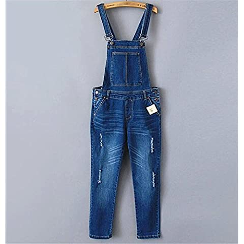 ZYQYJGF Stretch Denim Blu Bavaglino Bootcut Jeans Donna Distruggere Cerniera Pulsante Lungo Sciolto Pantaloni Slim Tasca Tinta Unita Casual . 36