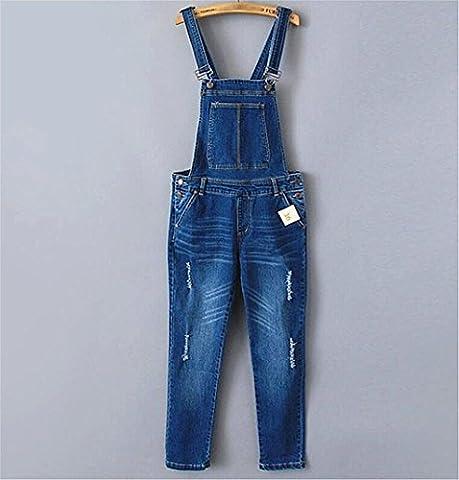 Wgwioo Stretch Denim Bleu Bavoir Bootcut Jeans Féminin Détruire Tirette Bouton Long Pantalon Lâche Slim Poche Couleur Unie Casual .