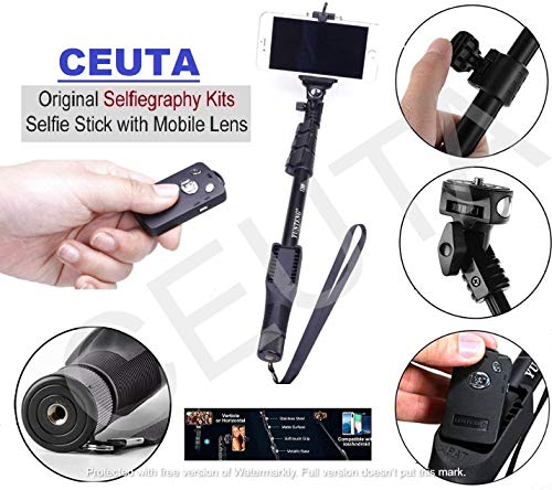 Ceuta Retails, 1288 Monopod for Camera and Smartphones with Bluetooth Remote Combo, Black