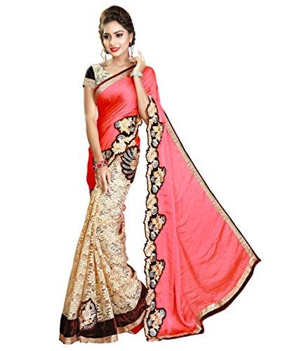 Panashtrends Women's Satin Saree (Ujj.K571,Multicolor,Free Size)