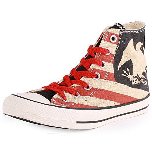 Converse Chuck Taylor All Star Homme Americana Hi 381410 Herren Sneaker Mehrfarbig (Rot/Beige/Schwarz)