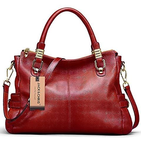 Jack&Chris Exquisite Women Ladies' Genuine Leather Tote Satchel Shoulder Handbag, SF0951Red