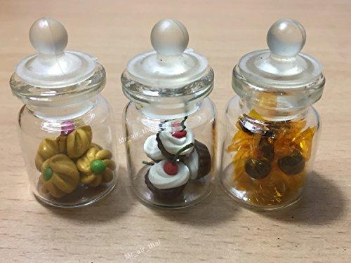 e Miniatur-Kuchen-/Keksdose, Süßigkeiten-/Puppenhaus-Kuchen/Kuchen, aus transparentem Glas, Obst-Mix, Zitronengelb #MF008 ()