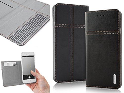 Bralexx Universal Slim Bookstyle-Tasche Hülle Case Cover mit Kartenfach, bequeme Foto-Funktion (4,3 - 4,5 Zoll max. 127 x 72 x 10 mm, Schwarz)