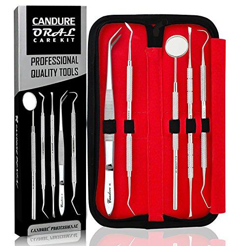 CANDURE-5er-Dental-Set-Zahnreinigung-Sonde-Zahnpflege-Edelstahl-Instrument-Zahnkratzer-Spitze-abgewinkelt-Expert-Pflegeset-Dental-instrumente-Dentalsonde-Zahnsonde-edelstahl-Zahnsteinkratzer-Instrumen