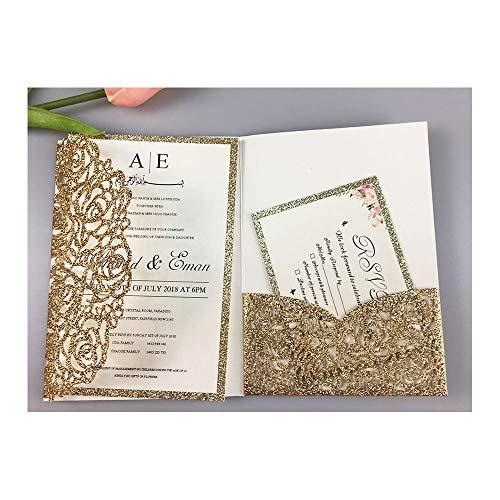 AOWEIRILUV 50 Stück goldene weiße Rose Muster Hochzeitseinladungskarten Tasche Einladungskarte für Hochzeitsfeier
