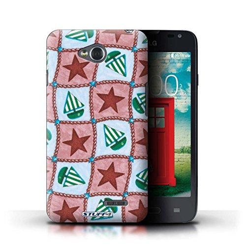 Kobalt® Imprimé Etui / Coque pour LG L65/D280 / Bleu/Vert conception / Série Bateaux étoiles Rouge/Vert