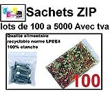 100 Sachets 60 x 80 mm fermeture zip Transparent 50u sac plastique 6x8 compatible alimentaire et congélation de marque UNIVERS GRAPHIQUE REF UGS03-100 facture avec TVA