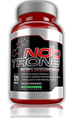 Nootrone - Nootropic Testosterone Booster for Male Professionals, Athletes and Students - 120 Vegetarian Capsules - UK Manufactured - Designed to increase natural testosterone levels, Libido, Muscle & Strength and increase mental focus and clarity - Natur