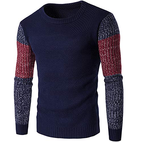 Men Sweaters Pullovers Fight Color Sleeve Warm Designer Men\'s Slim Fit Casual Knitted