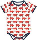 loud + proud Unisex Baby Body kurz mit Druck, aus Bio Baumwolle, GOTS zertiziziert, Rot (Cayenne Cay), 80 (Herstellergröße: 74/80)