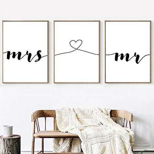 Nordic Ideas Set de 3 Posters Mr Cœur Mrs Citation Murale Chambre Tableaux Décoration Peinture sur Toile Affiche Noir et Blanc Motivation Poster Deco Salon sans Cadre PTQT001-XL