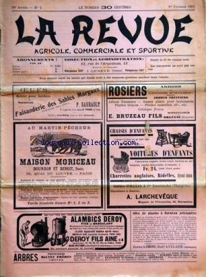 REVUE AGRICOLE COMMERCIALE ET SPORTIVE (LA) [No 2] du 01/02/1902 - - MABARLETRIER - LA FIEVRE APHTEUSE - L. VEUILLOT - LE SEMEUR - P.I. ZAN - FEVRIER AU CHAMPS - A LA VIGNE - A LA FERME - AU POTAGER - A. PICARD - CEREALES DE PRINTEMPS - VILMORIN - LE TREFLE INCARNAT - AVENA - LE SARRASIN -