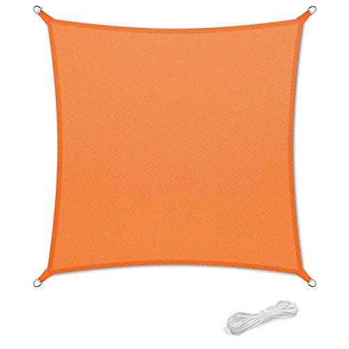 Qdreclod Sonnensegel 2x2m Sonnenschutz Garten Balkon Terrasse Party Wasserabweisend Wetterschutz Imprägniert Segel Baldachin 90% UV Schutz Markise mit Freiem Seil Quadrat Orange