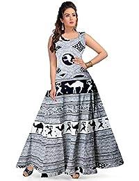 Rangun 100% Cotton Jaipuri Printed Maxi Dress for Women (Free Size)