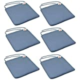Harbor Haushalt 6er Pack Gepolsterte Esszimmerstuhl-Sitzkissen mit Krawatte - Blau - 569mm