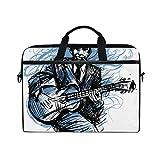 LOSNINA 15-15.4 inch Sac Ordinateur Portable,Guitariste Guitariste Blues Man Expression,Nouvelle Impression sur Toile Sac à bandoulière pour Ordinateur Portable Housse de Sac à Main