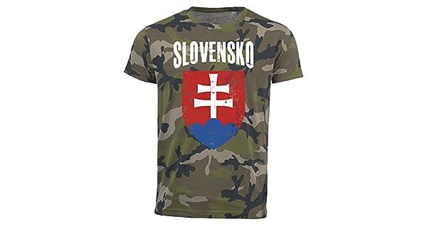 Vintage Destroy Wappen D01 T-Shirt Slowakei Camouflage Army WM 2018 .