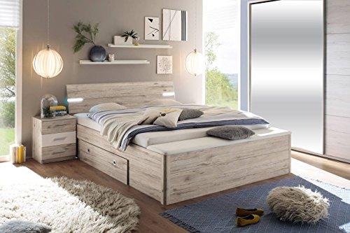 Bett, Bettanlage, Schlafbett, Schlafzimmerbett, Doppelbett, 180x200, Sandeiche, weiß, Bank, Nachtschrank, Nachttisch, Schubkasten, Beleuchtung
