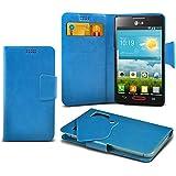 (Baby Blue) LG Optimus L4 II E440 Super dünne Kunstleder Saugnapf Wallet Case Hülle mit Credit / Debit Card SlotsBy Spyrox