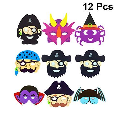 BESTOYARD 12 stücke Cartoon Halloween Masken für Kinder Maskerade Party Pirate Ghost Lustige Maske (Zufallsmuster) (Halloween-cartoons Lustige Kinder Für)