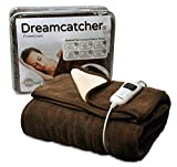 Dreamcatcher Luxury Fleece Heated Washable Electric Blanket Throw, Cream Chocolate Brown , Extra Large 200 x 130cm Overblanket, Timer, 9 Control Settings