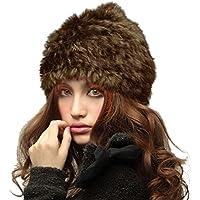 Belsen Donna coniglio caldo Cappello inverno Berretti in maglia pelliccia sci mucchi Cap