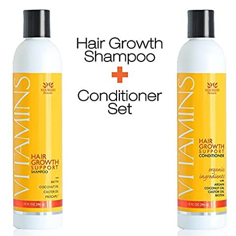 VITAMINS Hair Loss Shampoo and Conditioner 296ml - Argan Oil, Biotin & Caffeine - Best Hair Growth Product for Men and Women - Clinically Proven Regrowth Treatment, 3 Month