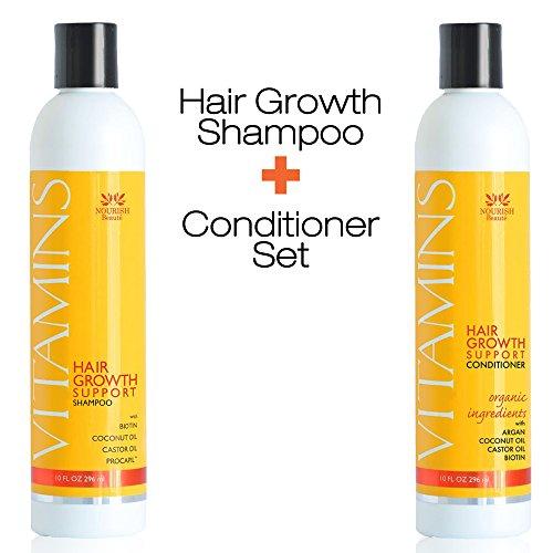 Anti-haar-verlust-shampoo (Vitamins Haar Verlust Shampoo und Spülung 296ml - Arganöl, Biotin & Kaffein - Bestes Haarwachstum Produkt für Männer und Frauen - Klinisch geprüfte Haarverlust Behandlung, 2 Monats Vorrat)